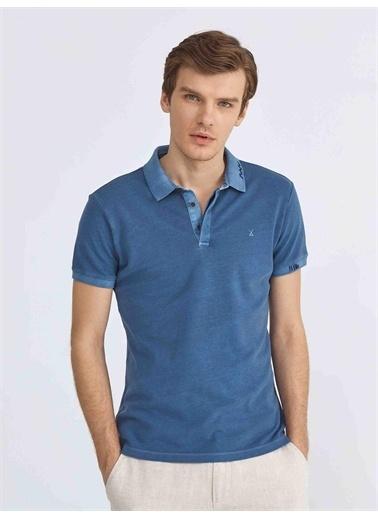 Xint XINT Polo Yaka Pamuklu Slim Fit Tişört İndigo